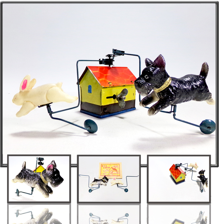 Dog Chase made by Modern Toys (TM), Occupied Japan, 1950s